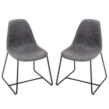 Camande Designs Eames Style Dining Side Chairs Vintage PU Leather with Metal Legs and Padded Seat & Back Set of 2 (Grey)