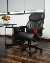 High Back Bonded Leather PU Leather Executive Office Chair with Wood Arms and base in Black Boss Swivel Chair