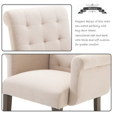 CAMANADE Accent Chair with Armrest and Solid Wood Legs (Beige)