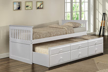 CAMANDE Captain's Bed Twin Daybed with Trundle Bed and Storage Drawers, White