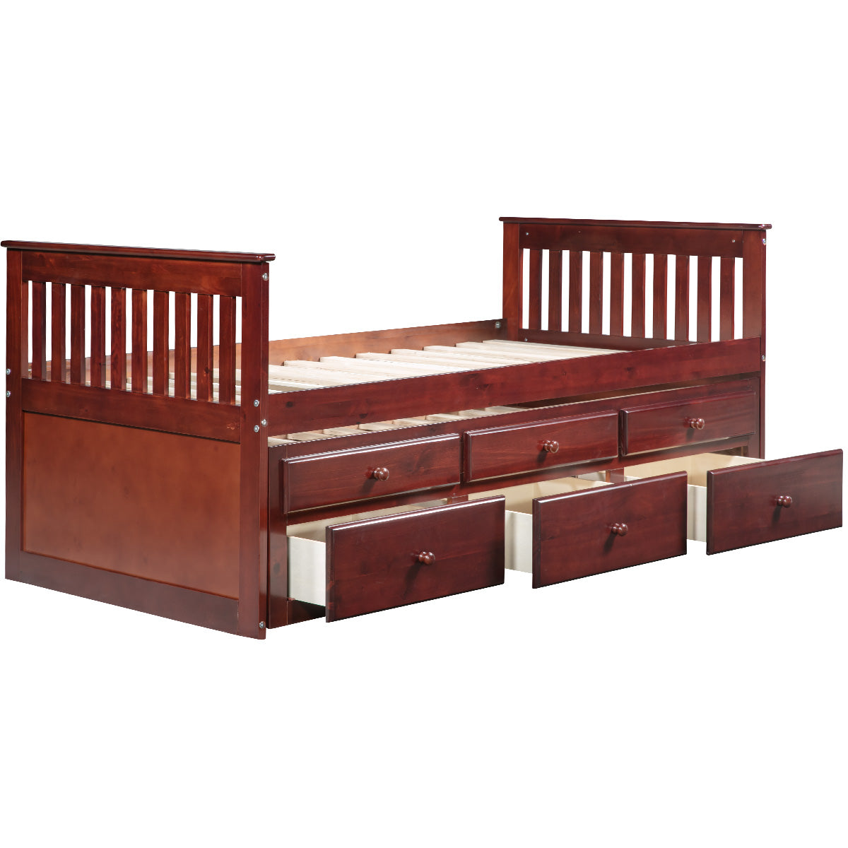 CAMANDE Captain's Bed Twin Daybed with Trundle Bed and Storage Drawers, Walnut