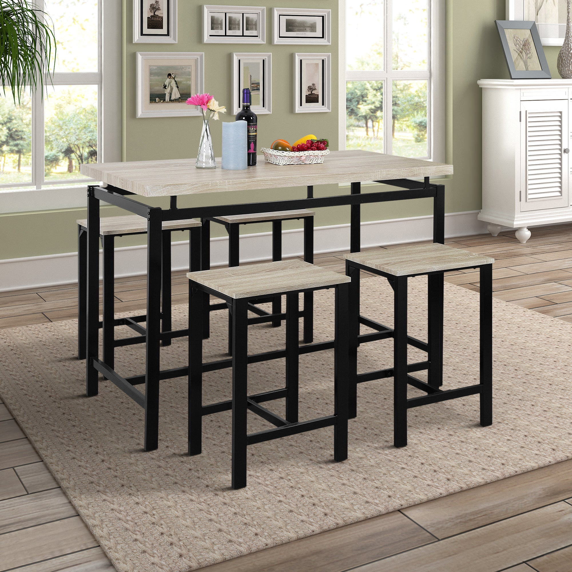 CAMANDE 5-Piece Counter Height Table Set/Dining Table with 4 Chairs