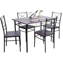 Camande 5-Piece Dining Table Set Home Kitchen Table with 4 Chairs Wood and Metal Dining Room