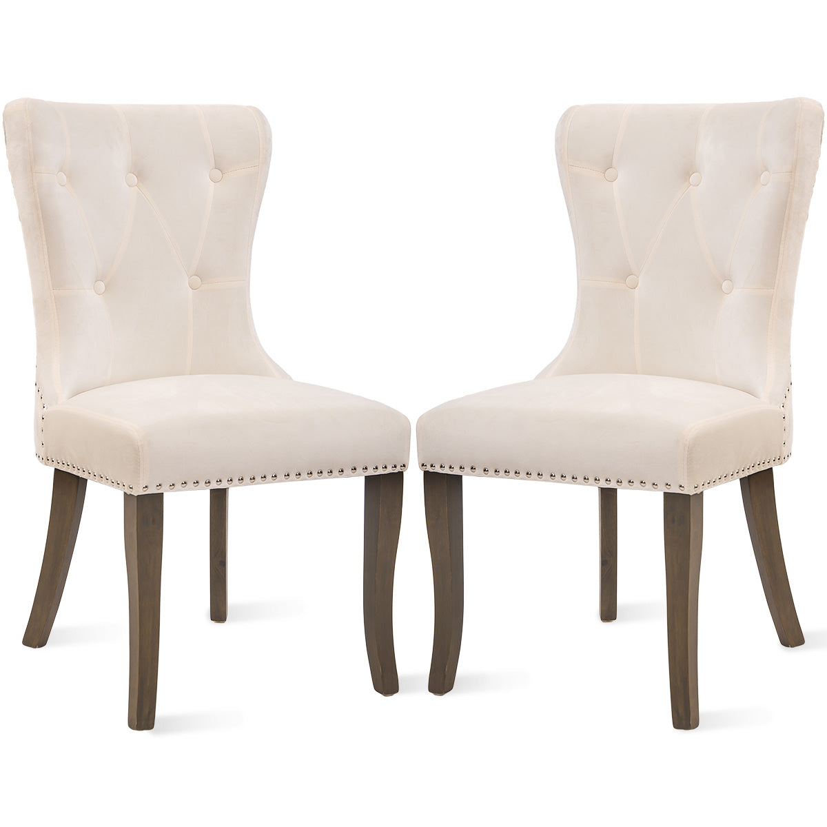CAMANDE Dining Chair Tufted Armless Chair Upholstered Accent Chair, Set of 2 (Beige)
