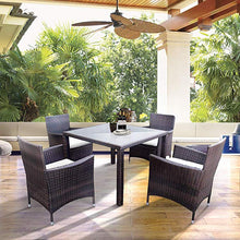 Camande 5 Pieces Patio Dining Sets, Rattan Dining Furniture Sets with 4 Wicker Chairs and Glass Table