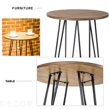 Camande Dining Room Bar Table, Wood Kitchen Pub Height Table with Metal Legs Round