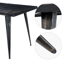 CAMANDE Antique Style Rectangular Metal Dining Table Large (Golden Black)
