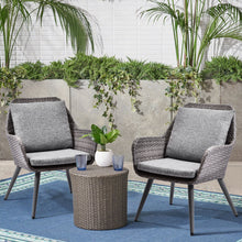 Camande Wicker Dining Chairs PE Rattan Accent Chair Patio Garden Furniture Sets, Set of 2
