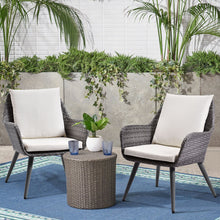 Camande Set of 2 Wicker Dining Chairs PE Rattan Accent Chair with Beige Cushion Patio