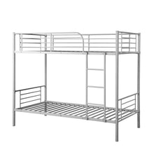 Camande Twin-Over-Twin Metal Bunk Bed in Silver Finish