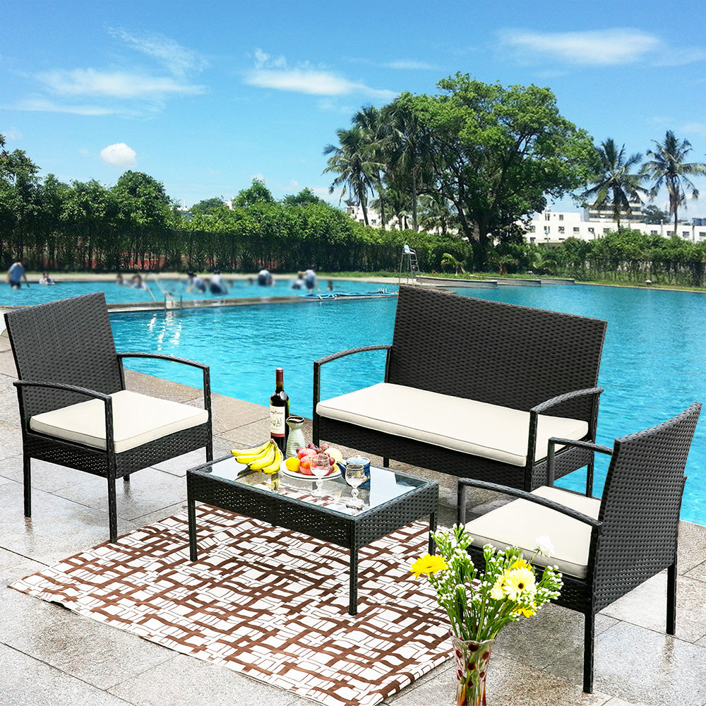 Camande 4 PC Outdoor Rattan Furniture Set Patio Wicker Cushioned Set Garden Sofa Set
