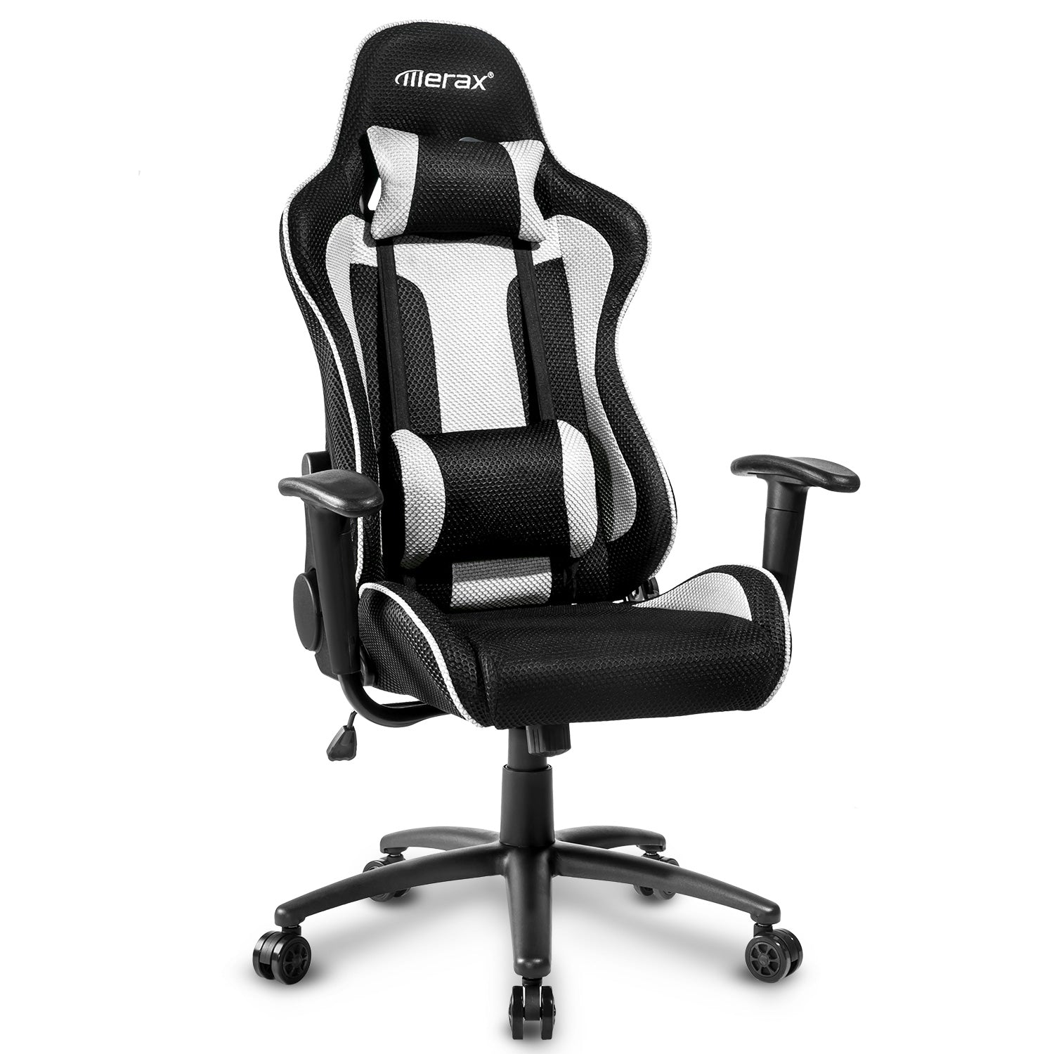 CAMANDE Racing Gaming Chair Executive Swivel Mesh Computer Office Chair Metal Frame(White)