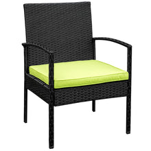 Camande 4 PC Rattan Patio Furniture Set Wicker Conversation Set Garden Lawn Set