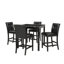 CAMANDE 5-Piece Kitchen Table Set Marble Top Counter Height Dining Table Set with 4 Leather-Upholstered Chairs