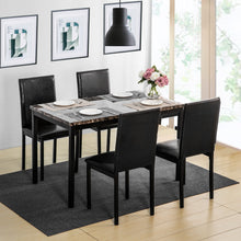 Camande Designs 5 Piece Dining Set Faux Mable and PU Leather