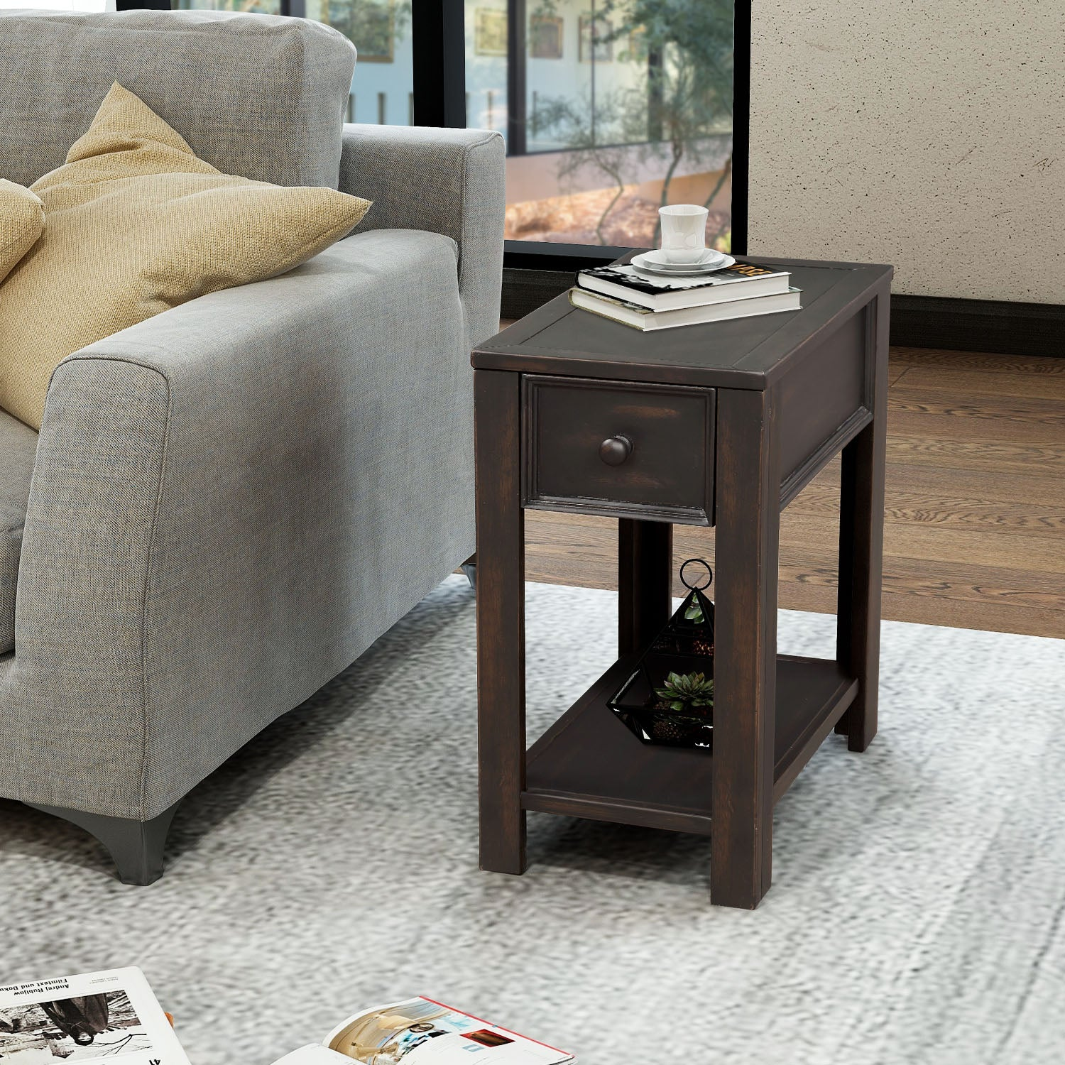 Coffee Table Retro Style Solid Wood+MDF Console Table Sofa Table for Living Room with Open Shelf and Drawer