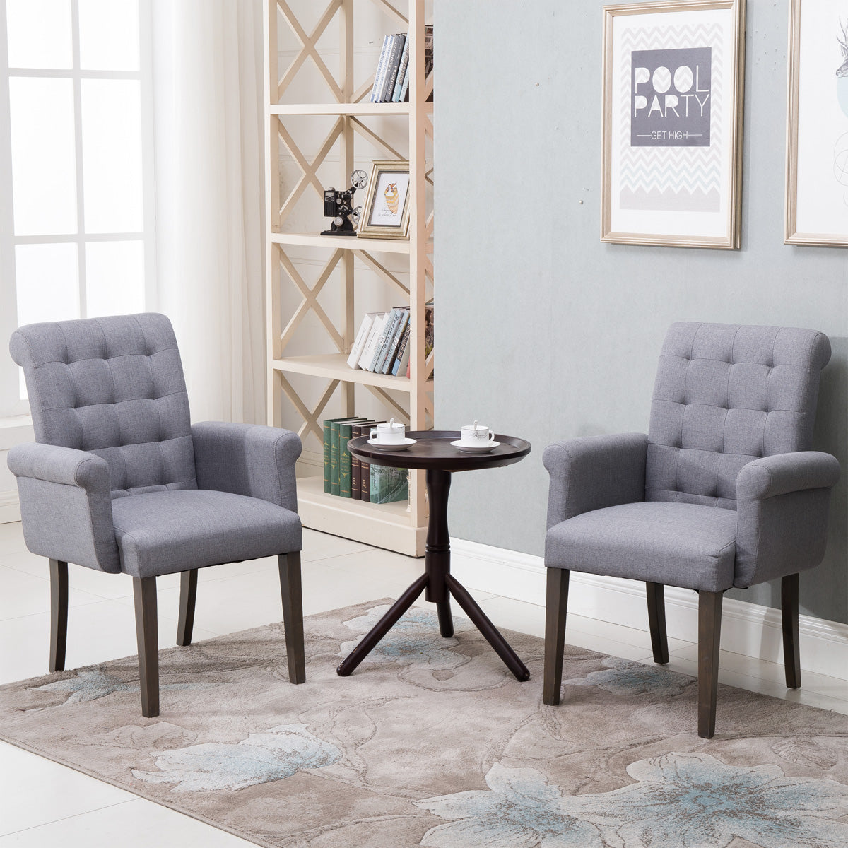 CAMANDE Fabric Tufted Dining Chair Accent Chair with Armrest and Solid Wood Legs (Grey)