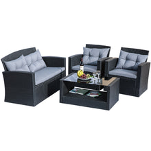 Camande Outdoor Furniture Patio Furniture Set 4 Piece Wicker Patio Furniture with Cushions and table