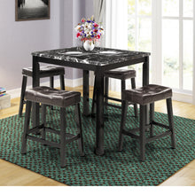 Camande Kitchen Table Set, 5-Piece Marble Top Counter Height Dining Table Set