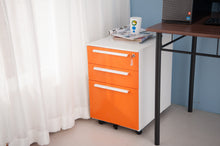 CAMANDE 3 Drawer Mobile File Cabinet Metal Solid Storage File Cabinet with Keys (Orange)