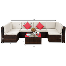 Camande Patio Furniture Set PE Rattan Sectional Garden Furniture Corner Sofa Set
