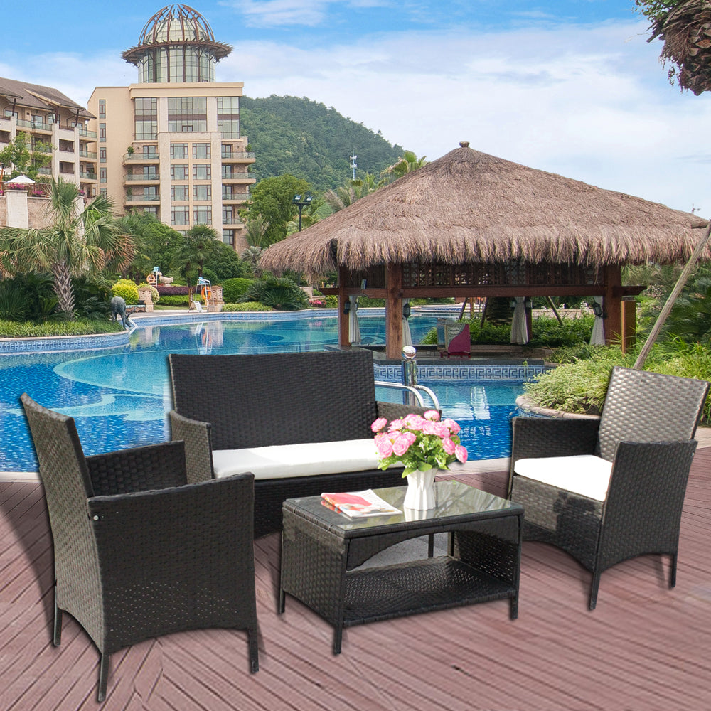 4 Pieces Outdoor Patio Furniture Sets Rattan Chair Wicker Set, Outdoor Backyard Furniture