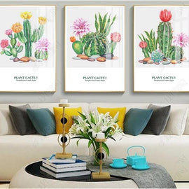 XXL  Modern Minimalist Nordic Abstraction Letters Cactus 3 pcs Canvas Painting Wall Picture Decorative poster for Living Room
