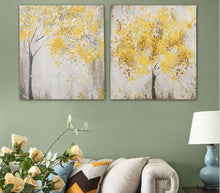 WJJ AtFipan Unframed 2 Panel Abstract Yellow leaf tree Canvas Art Print Poster Wall Pictures For Living Room Home Decor