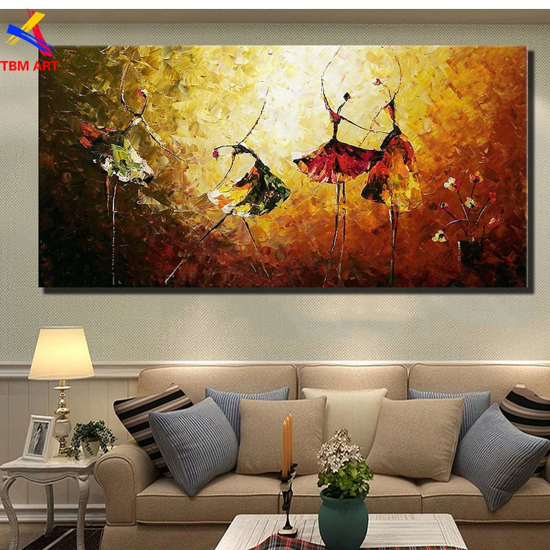 Textured Ballet Dance Picture Wall Art for Living Room Hand-painted Modern Abstract Oil Painting on Canvas JYJ067