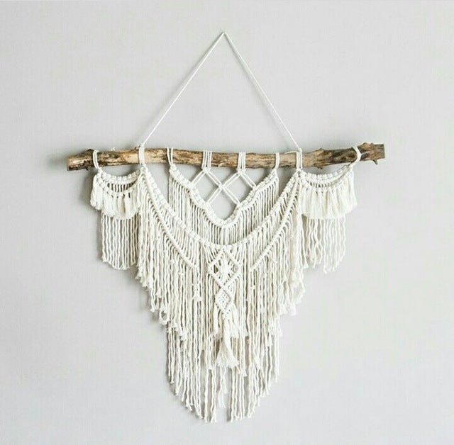 Hanging Bohemian Macrame Woven Handmade Tapestry Knitting Wall Tapisserie Home Decoration Craft Wedding Gift Beige