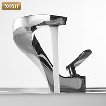 XOXO Basin Faucet Cold and Hot Waterfall Contemporary Chrome Brass Bathroom basin sink Mixer Deck Mounted waterfall Tap 21045