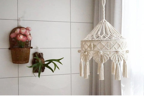 Bohemian Macrame Ins Style Hand-woven Tapestry Girl Heart Bedroom Living Room Nordic Chandelier Cover Decoration