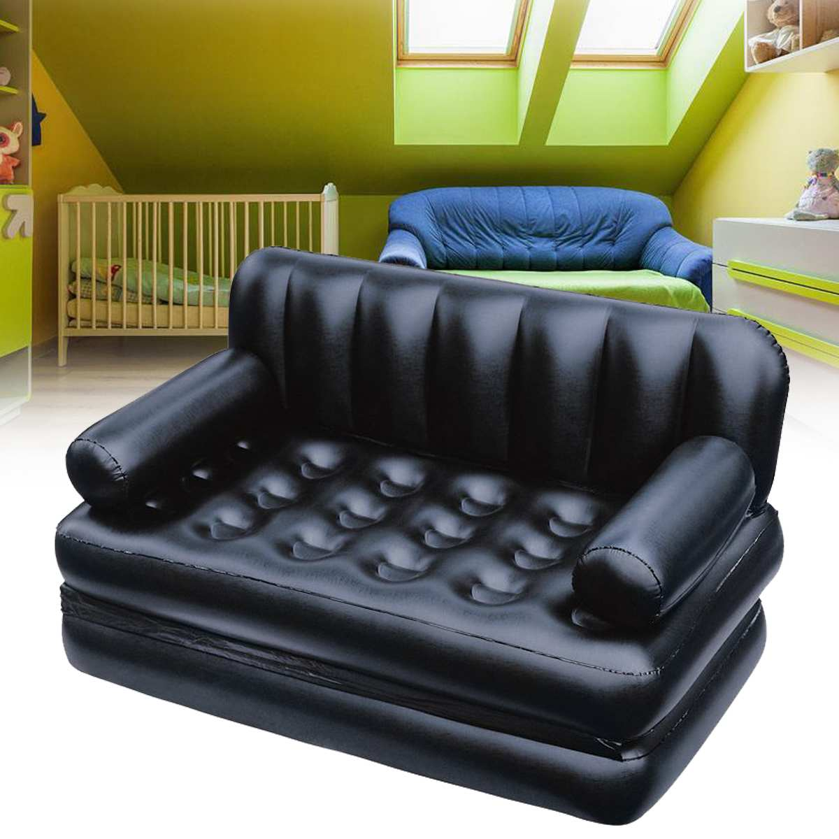 Outdoor Furniture Inflatable Garden Sofa Lounge Blow Up Double Air Bed Multifunction Couch Camping Mattress Airbed for 2 People
