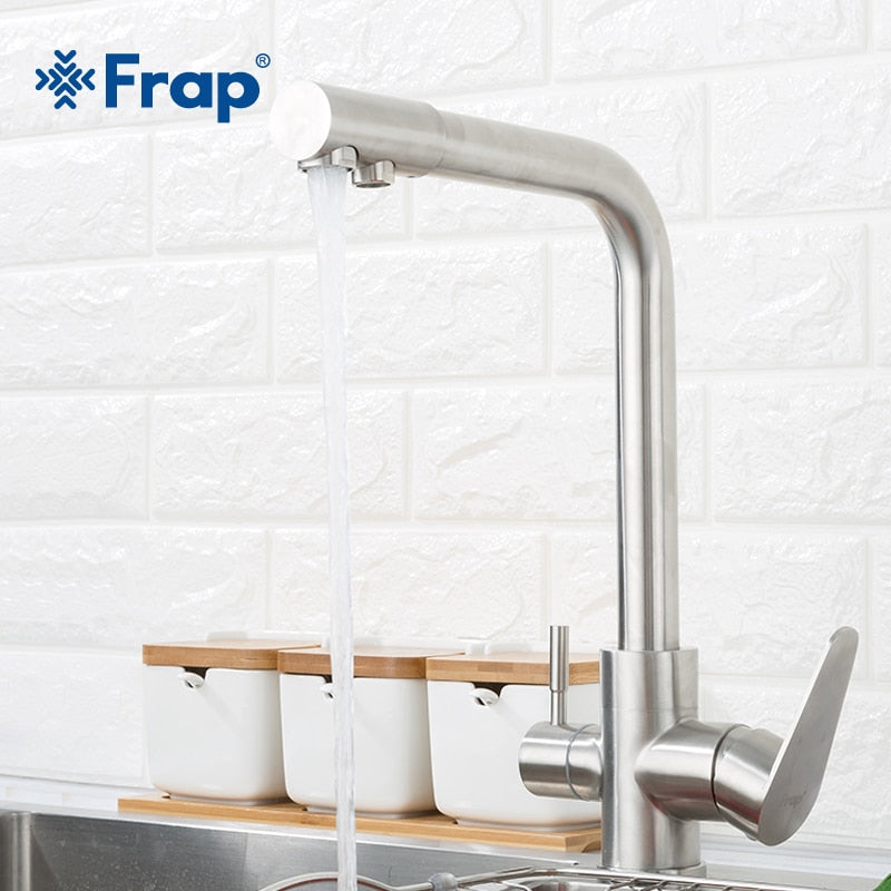 Frap Classic Kitchen Faucet With Filtered Water 304 Stainless Steel Water Purifier Dual Handle Drinking Tap Cold and Hot F4348