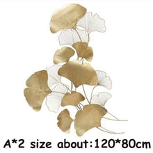 Modern Luxury Wrought Iron Wall Hanging Ginkgo Leaf Crafts Decoration Home Background Wall Sticker Porch Metal Mural Accessories