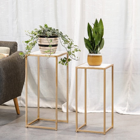 End Tables Living Room Furniture Iron + marble flower stand sofa side table mesas living room table 34*34*75cm / 30*30*55cm sale