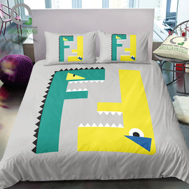 3D Digital Printing Capital Letter FF Abstract Crocodile Dinosaur Little Monster 3-Piece Duvet Cover Sets 100% Microfiber
