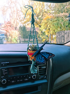 Rearview Mirror Decor Mini Macrame Succulent My Car Plants My