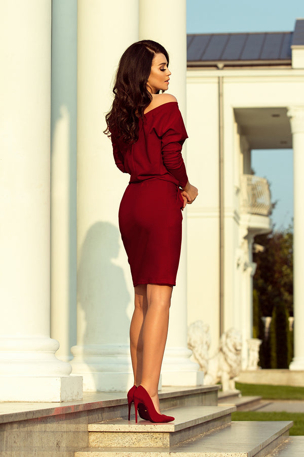 Numoco 189-5 Sports dress with neckline at the back - Burgundy color