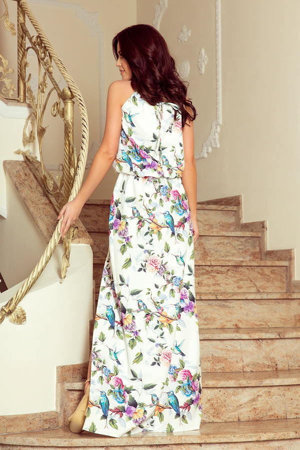 Numoco 191-6 Long dress tied at the neck - colorful roses and blue birds