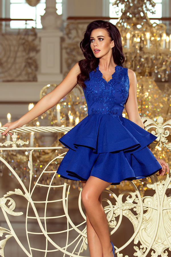 Numoco 200-7 CHARLOTTE - Exclusive dress with lace neckline - ROYAL BLUE