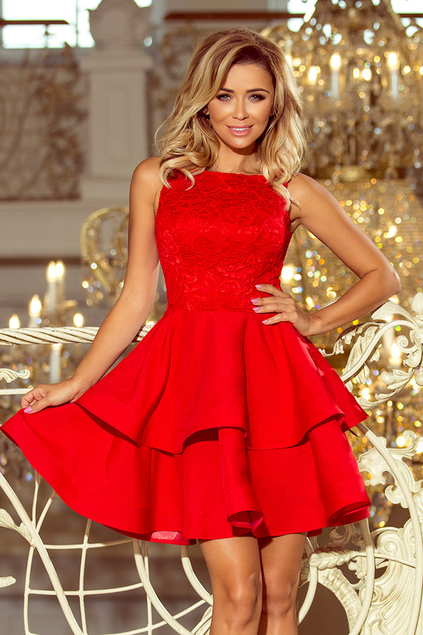 Numoco 205-1 LAURA flared dress with lace - red