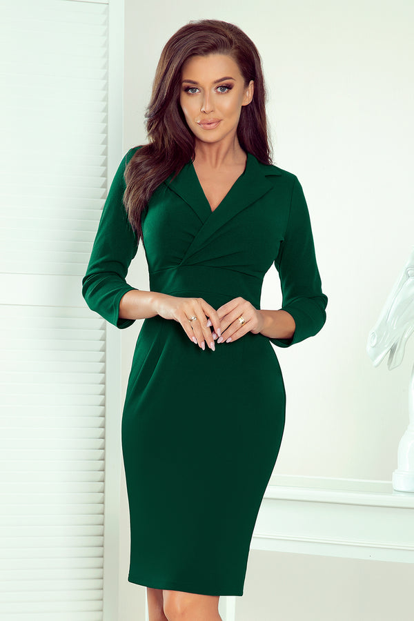 Numoco 237-3 KELLY Elegant dress with a neckline - GREEN