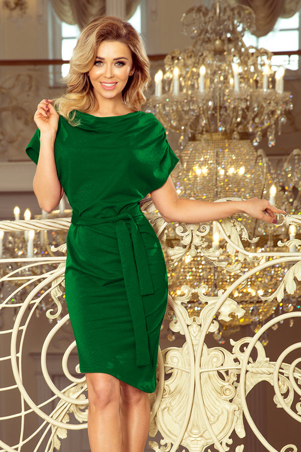 Numoco 240-1 ROXI dress with asymmetrical skirt and belt - green
