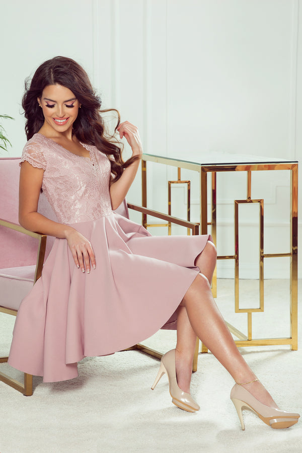 Numoco 300-1 PATRICIA - dress with longer back with lace neckline - powder pink