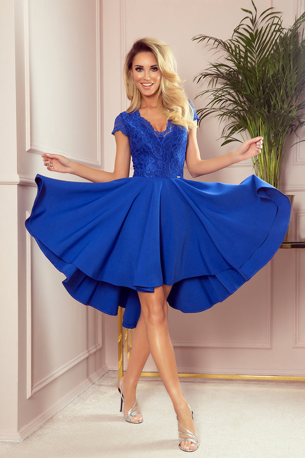 Numoco 300-3 PATRICIA - dress with longer back with lace neckline - ROYAL BLUE