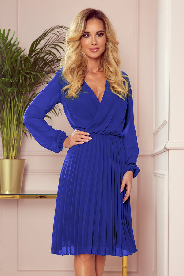 Numoco 313-3 ISABELLE Pleated dress with neckline and long sleeve - Royal Blue