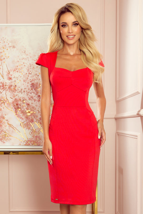 Numoco 318-1 Midi dress with a nice neckline - red