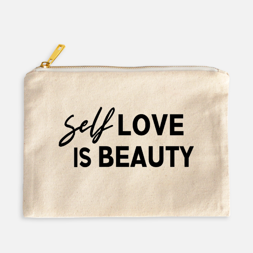 Self Love is Beauty Cosmetic Bag - Canvas