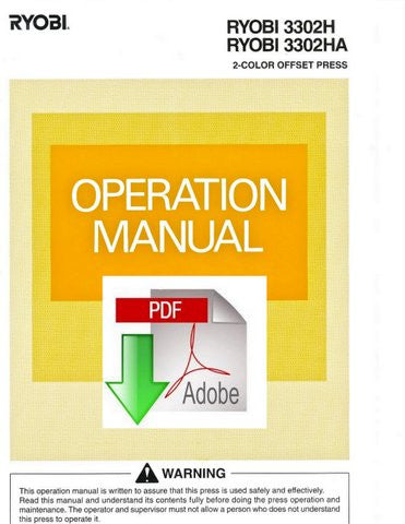RYOBI 3302H, 3302HA OPERATION MANUAL, PDF